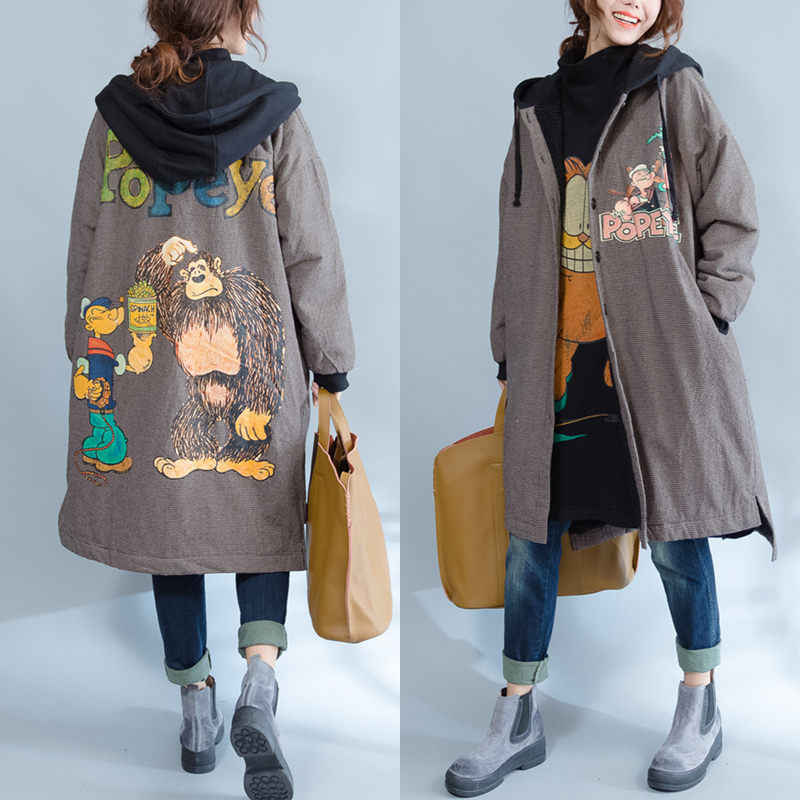 Large Size Autumn Winter Outwear Women Loose Fleece Thick Warm Hooded Cotton Coats Casual Cardigan Cartoon Plaid Jacket f1610
