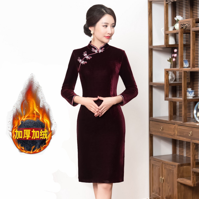 2019 Real The New Improved Pleuche Cheongsam Retro Brief Paragraph Cultivate Morality Qipao Dress Middle-aged And Old Mother
