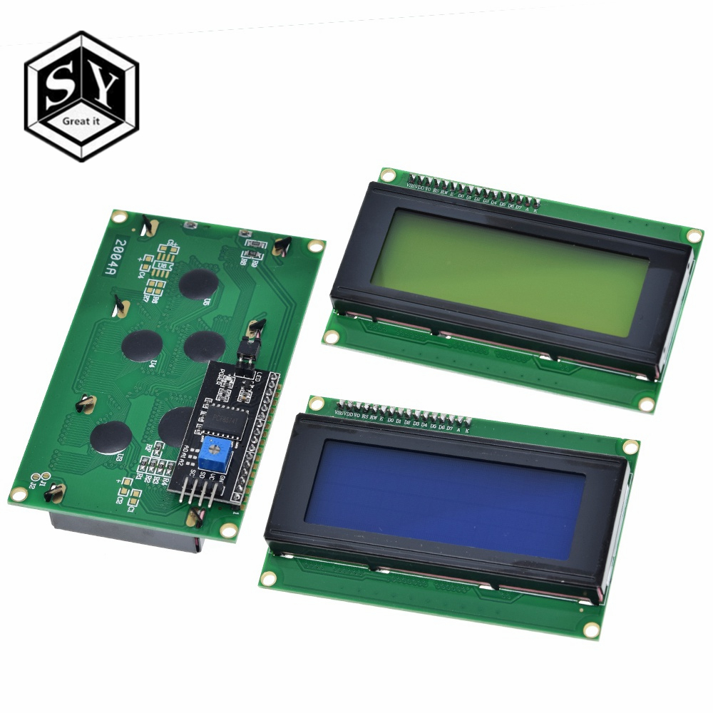 1 pces lcd2004 + i2c 2004 20x4 2004a tela azul hd4780 caráter lcd/com iic/i2c módulo adaptador de interface serial para arduino módulo