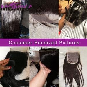 Image 5 - Monika fechamentos de cabelo peruano fechamento em linha reta do cabelo humano 4x4 fechamento do laço suíço 1 peça não remy cabelo frete grátis
