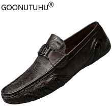 Men's shoes casual genuine leather 2018 new autumn fashion loafers slip-on shoe man youth breathable driving flats shoes for men 2018 men brand new fashion loafers shoes pu leather spring autumn breathable sneakers casual flats driving slip on shoes qa 15