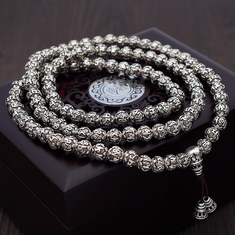 Image 2 - 108 Beads Mantra Bracelets For Men and Women Six Words Engraved 925 Sterling Silver Om Mani Padme Hum Prayer Multilayer BraceletBracelets & Bangles   -