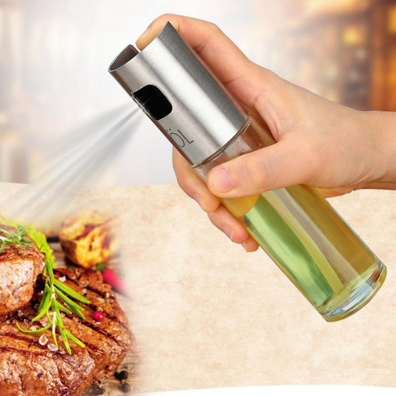 Stainless Steel Glass Olive Pump Oil Spray Bottle Oil Sprayer Pot Cooking Tools BBQ Kitchen Storage Bottle Oil Sprayer