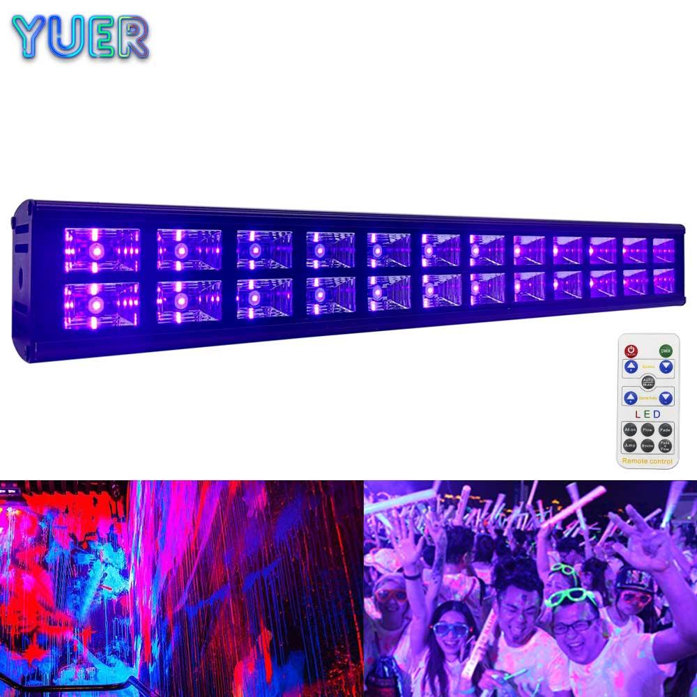 YUER 25 uds 24X3W UV Bar luz de pared de discoteca DJ Bola de discoteca giratoria activada por sonido, luces de fiesta, luz estroboscópica, luces de escenario led RGB de 3W para Navidad, hogar, KTV, espectáculo de Bodas de Navidad