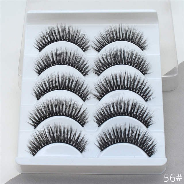5Pairs 3D Mink Hair False Eyelashes Extension Natural Thick Long Fake Eye Lashes Wispy Women Makeup Beauty Tools 5