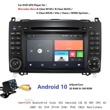 Hizpo Radio con GPS para coche, reproductor con Android 10, wifi, 2 Din, cuatro núcleos, DVD, navegación, 2GB de RAM, para Benz, Sprinter W169, W245, W906, Viano, Vito W639, B200