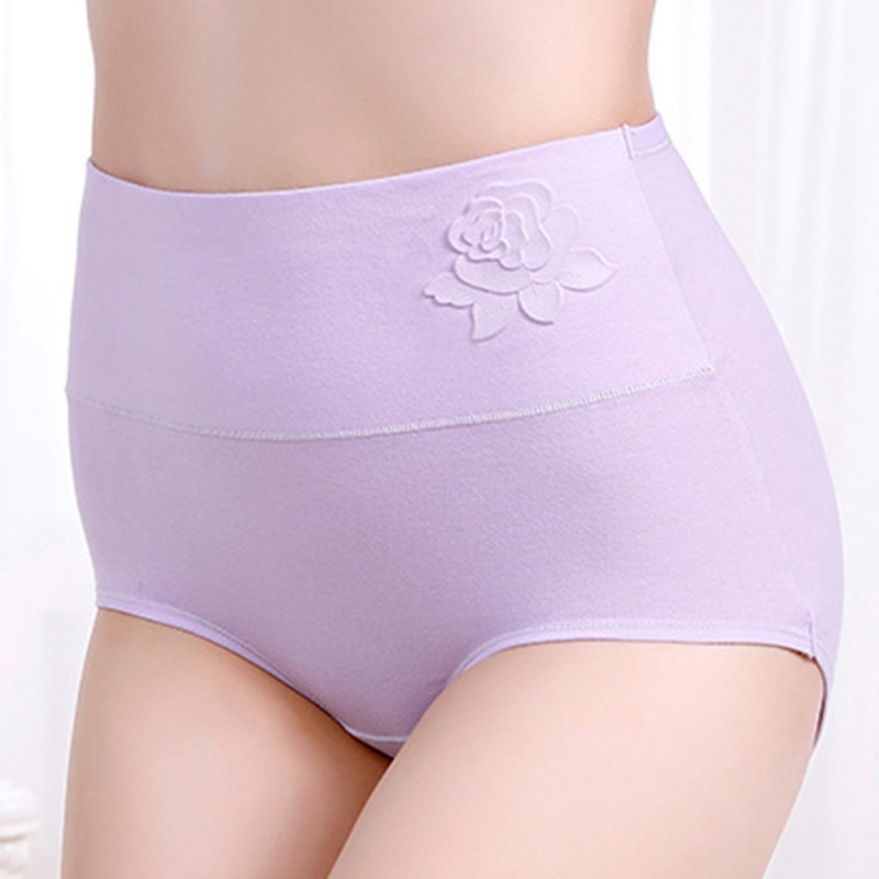 2019 New Women's Panties Cotton High Waist Postpartum Tummy Hip Large Size Briefs Solid Color Embossed Breathable Briefs