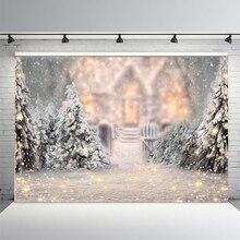 Fond de noël arbre de noël blanc neige nouvel an famille décoration flocon de neige Photo Studio fond brique cheminée