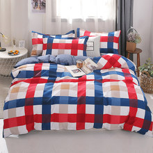 3/4pcs Luxury Stripe Duvet Cover Set Twin Full Queen King Size Multicolor Plaid Brief Bedding Sets Comforter Cover Pillow cases(China)