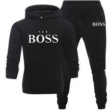 Evet patron baskı takım elbise iki adet Set erkek Hoodies kazak + pantolon takım elbise erkek Hoody koşu eşofman erkek spor marka kıyafet