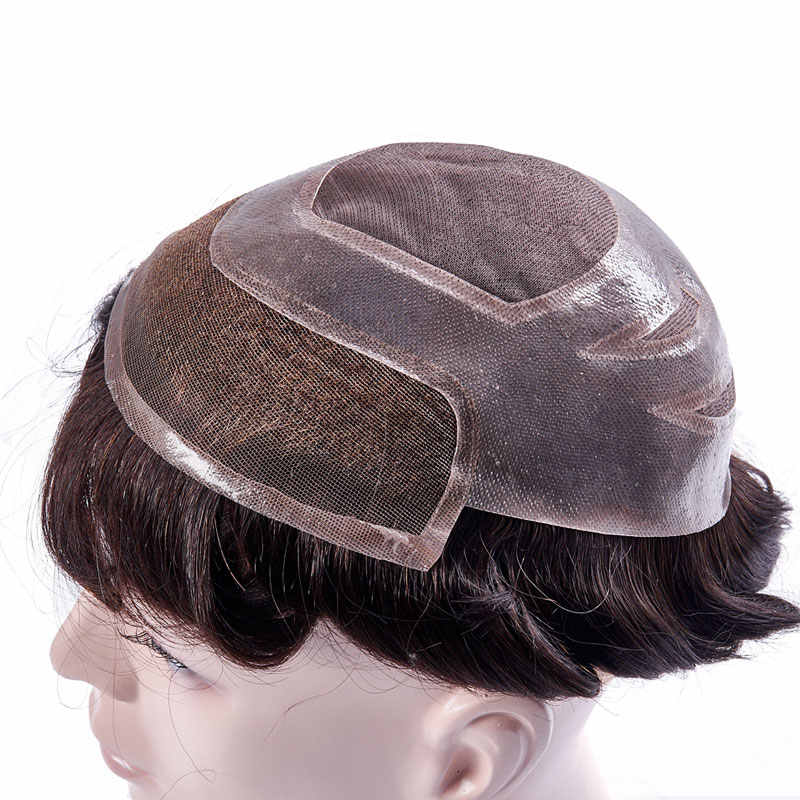 Mens Toupee Mono Lace With Thin PU Hair Replacement Systems Indian Remy Human HairPiece Wig Natural Handmadec