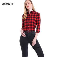 AYAOZTT Long Sleeve Plaid Flannel Shirt Womens Collared Button Down shirts Hot