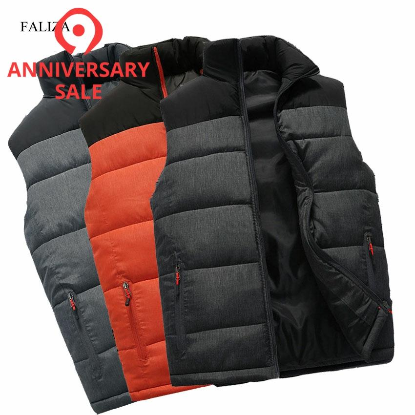 FALIZA New Mens Jackets Sleeveless Vest Winter Mens Warm Down Vest Homme Casual Thicken Waistcoat Chalecos Para Hombre 5XL MJ MVests & Waistcoats   -