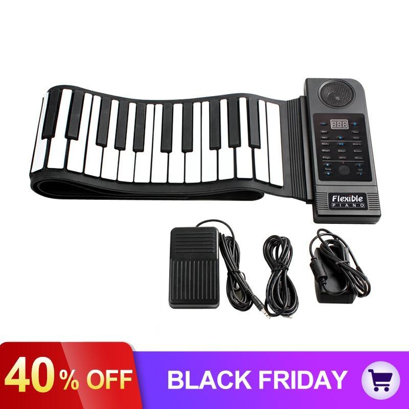 Portable Flexible pliant clavier Piano 88 touches 128 tons orgue électronique numérique retrousser MIDI Piano haut-parleur intégré pour les enfants