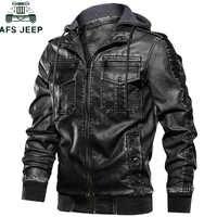 Encapuçado militar dos homens da motocicleta jaquetas de couro casacos gola multi-bolso casaco de couro do plutônio eur tamanho S-XXL jaqueta couro