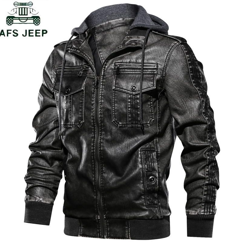 Hooded Military Mens Motorcycle Leather Jackets Coats Stand Collar Multi-pocket Pu Leather Coat Eur Size S-XXL  Jaqueta Couro