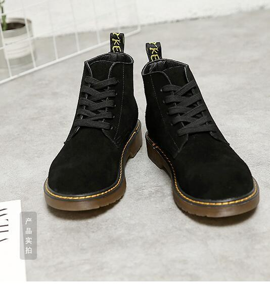 Genuine Leather Low Falts Heel Boots New Style Black Suede Work Boots Autumn Winter Lace-up Comfortable Casual Shoes