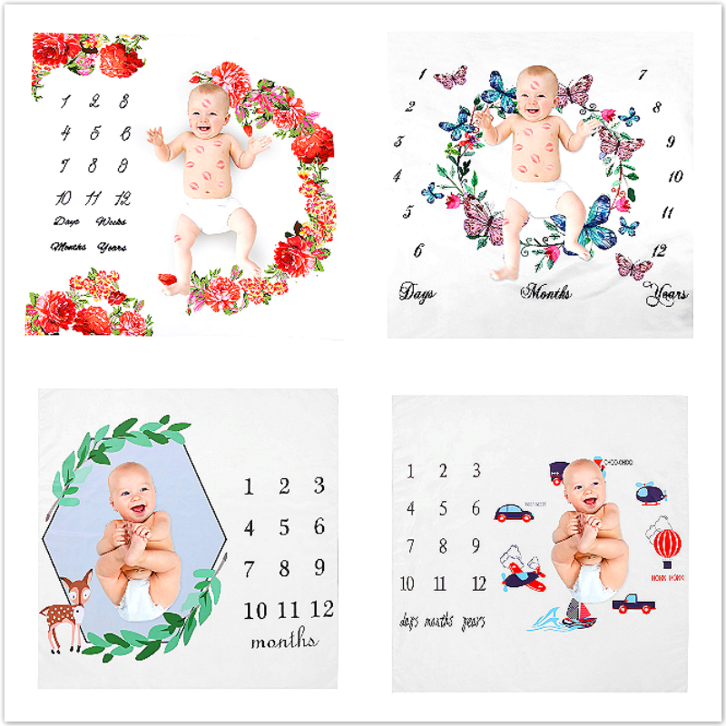 Baby Photography Prop Blankets Feet Printed Newborn Photo Backdrop Cloth Newborn Baby Milestone Blanket  Infant Photography Back