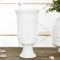 Gorąca sprzedaż nordycki minimalizm streszczenie ceramiczny wazon twarz sztuki matowy szkliwiony dekoracyjny kształt głowy wazon biały ceramiczny w Doniczki i skrzynki do kwiatów od Dom i ogród na