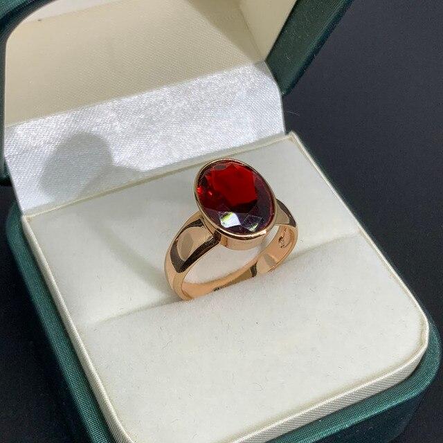 Luala vintage oval vermelho/verde natural pedra zircão anel para as mulheres rosa anéis de ouro indiano dubai jóias acessórios de casamento 3