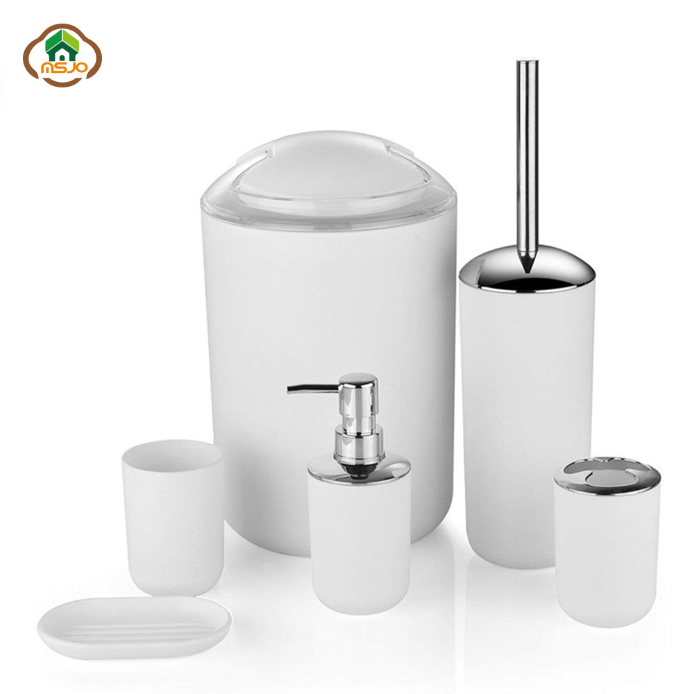MSJO Bathroom Accessories Set 6PCS Decor Storage Black Soap Dispenser Toothbrush Toothbrush Holder Modern Home Decor Accessories image
