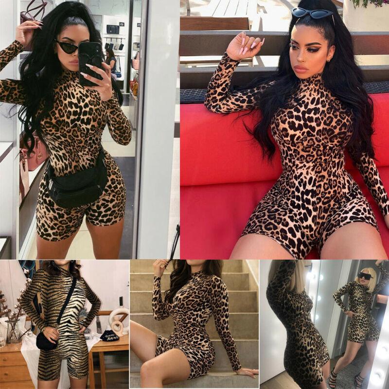 Women Ladies Summer Playsuit  Party Tiger Print Leopard Clubwear Fashion  Jumpsuit Romper Trousers