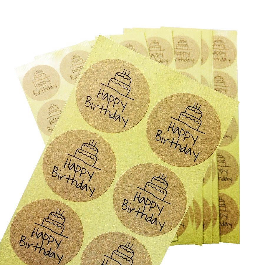 100 Pcs/lot Homemade Happy Birthday Round Seal Sticker Kraft Paper Adhesive Stickers For Bakery & Gift Packaging Scrapbooking