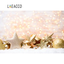 Laeacco Photo Backdrops Gold Christmas Polka Dots Star Bauble Light Bokeh Snow Party Portrait Backgrounds Photocall Studio