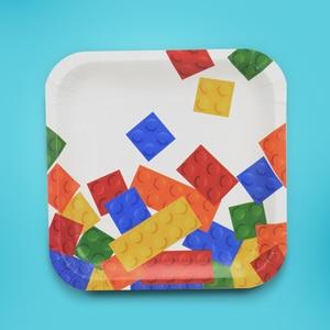 Image 4 - 8個レゴパーティー使い捨て食器プレートカップ子供の誕生日パーティーベビーシャワーの装飾用品