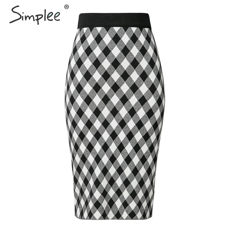 Simplee Vintage Plaid Knitted Skirt Women High Waist Autumn Winter Female Straight Midi Skirts Casual Soft Ladies Sweater Skirts