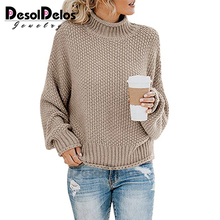 Casual Loose Autumn Winter Turtleneck Sweater Women Oversize Solid Knitted Sweaters Warm Long Sleeve Pullover 2019