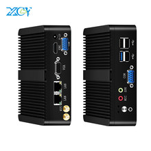 XCY sin ventilador Mini pc intel Celeron j1900 ganar Windows 10 7 Linux Thin Client Minipc Pfsense Micro 2 puerto Lan Tv, computadoras de escritorio(China)