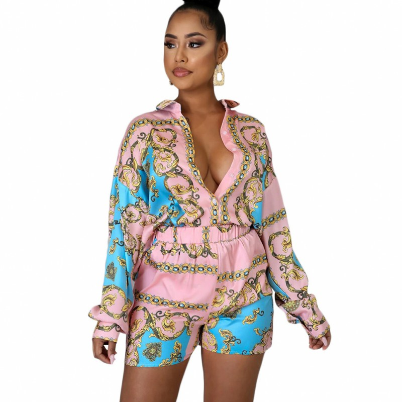 2 Pieces Set Sexy Spring Autumn Fashion Women Sets Female Tops Floral Print Long Sleeve Shirt Elastic Waist Shorts Outfits 2020