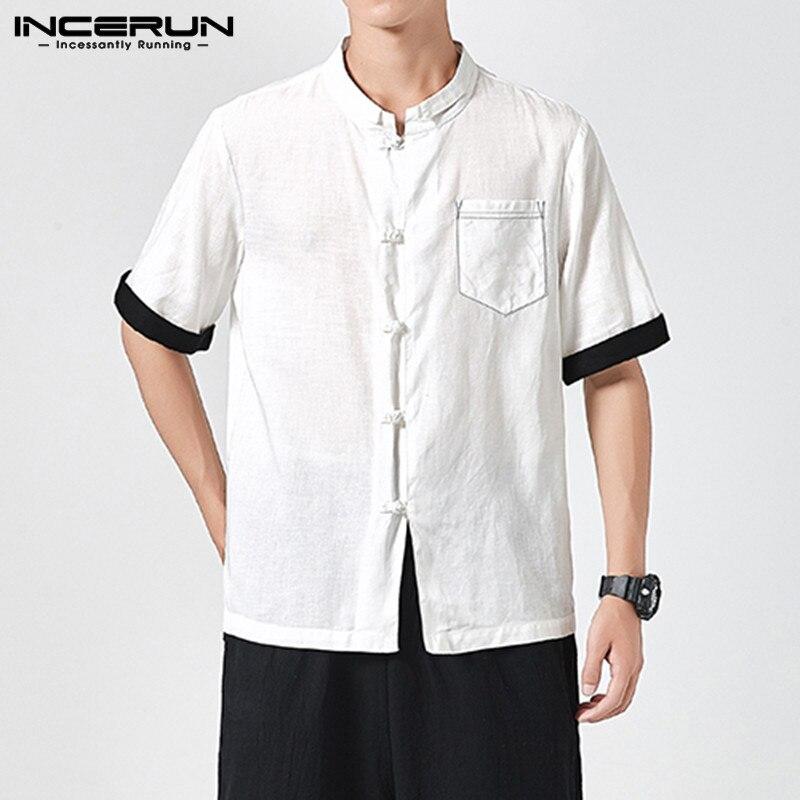 INCERUN Chinese Style Men Casual Shirt Summer Cotton Patchwork Short Sleeve Camisa Button Retro 2020 Streetwear Men Brand Shirts
