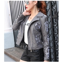 SWYIVY Faux Leather Jacket Printed PU Slim Short Coat Motorcycle Autumn Winter Soft Jackets And