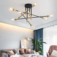 Modern Nordic E27 Lights Black LED Chandelier Lighting Edison 4/6/8Lights Chandeliers Indoor Light Fixture Not Included Bulbs