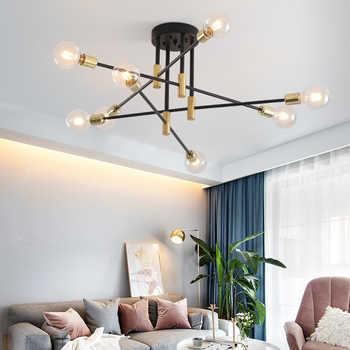 Lámparas modernas nórdicas E27 lámparas negras LED candelabro iluminación Edison 4/6/8 lámparas candelabros de interior lámparas no incluidas bombillas