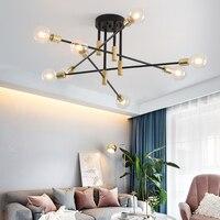 Moderne Nordic E27 Schwarz LED Decke Kronleuchter Edison Lampen Innen Leuchten Für Schlafzimmer Wohnzimmer Lampe
