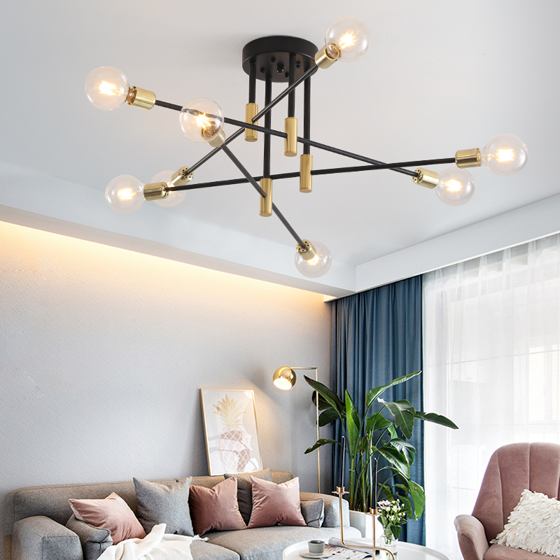 Modern Nordic E27 Black LED Chandelier Lighting Edison 4 6 8 Lights Chandeliers Indoor Light Fixtures Bedroom Lamp Room