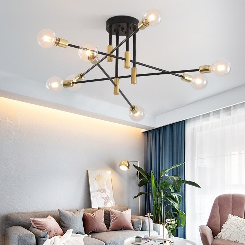Modern Nordic E27 Black LED Chandelier Lighting Edison 4/6/8 Lights Chandeliers Indoor Light Fixtures Bedroom Lamp Room Light