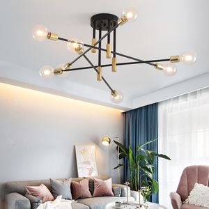 Modern Nordic E27 Black LED Chandelier Lighting Edison 4/6/8 Lights Chandeliers Indoor Light Fixtures Bedroom Lamp Room