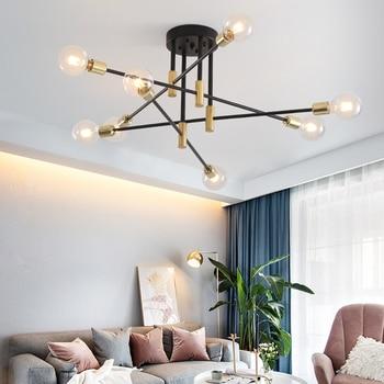 Modern Nordic E27 Black LED Chandelier Lighting Edison 4/6/8 Lights Indoor Light Fixtures Bedroom Lamp Room