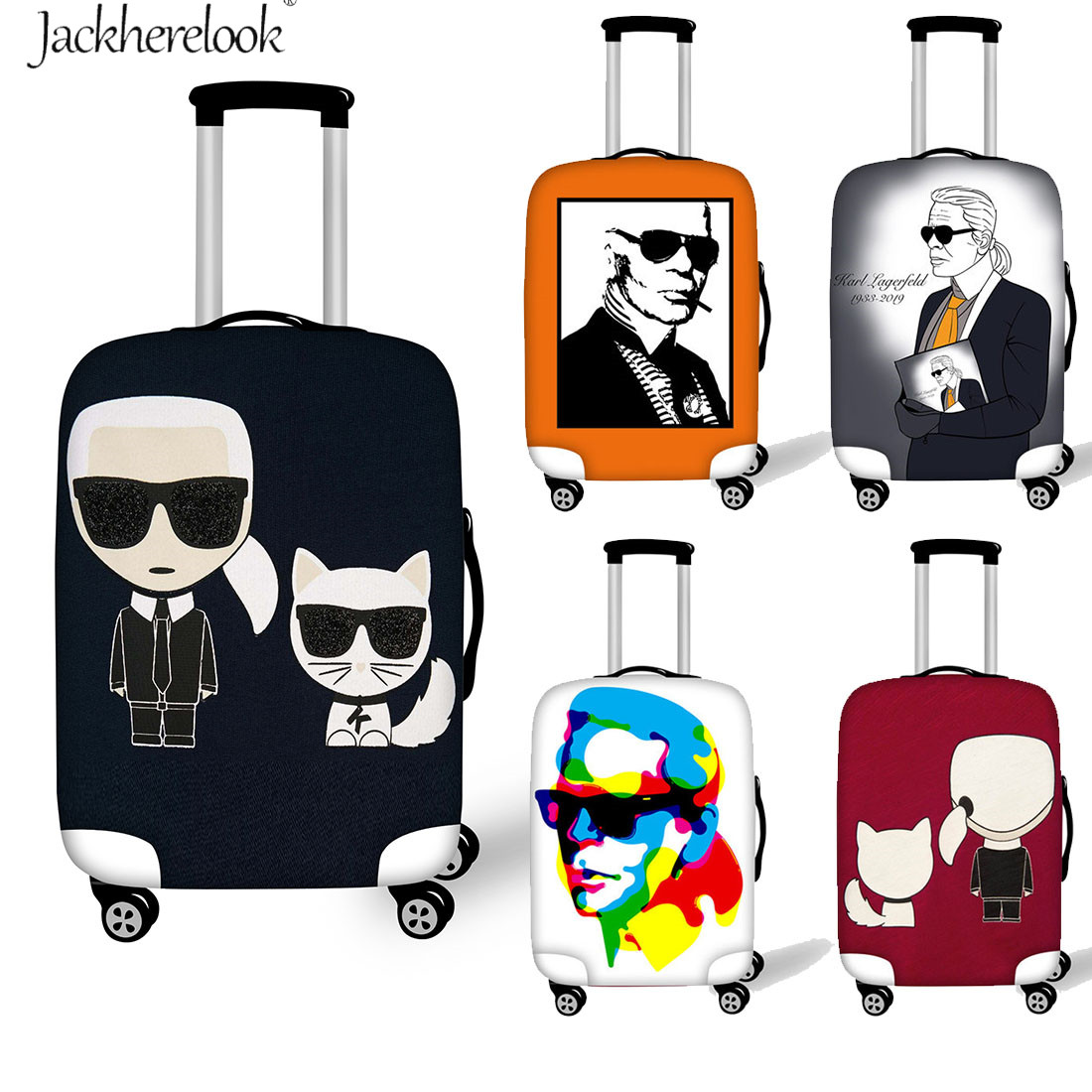 Karl Lagerfelds Print Luggage Cover Suitcase Dust Protector Cover Elastic Travel Luggage Bag Cover Travel On Road Baggage Cases