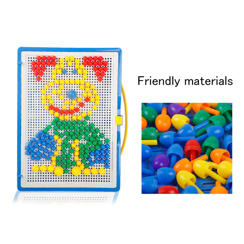 1Set Kids Mosaic Mushroom Plug Beads Children Puzzle Peg Board With 296 Pegs For Kids Early Educational Toys DIY Gift
