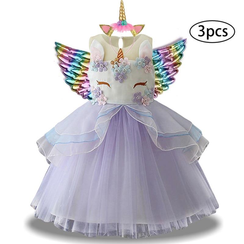 Hfb2140e89ea54578985c87f2f7a8dfecw New Girls Dress 3Pcs Kids Dresses For Girl Unicorn Party Dress Christmas Carnival Costume Child Princess Dress 3 5 6 8 9 10 Year