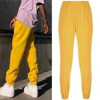 Women Loose High Waist Pants Solid Loose Joggers TrousersTrack Pants Punk Capris