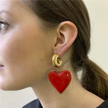 Vintage Big Red Heart Drop Earrings For Women 2019 New Personality Statement Black