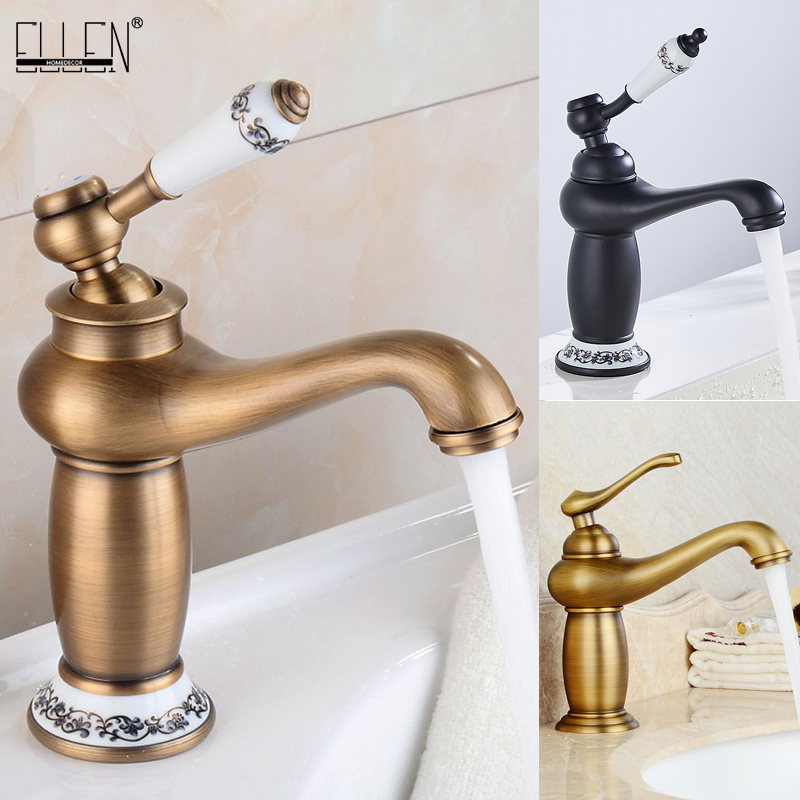 Bathroom Faucet Antique Bronze Finish Brass Basin Sink Solid Brass Faucets Single Handle Water Mixer Taps Bath Crane  ELFCT001 1