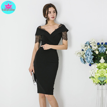 2019 summer new Korean style professional wear black lace Slim sexy bag hip dress Knee-Length  Lace Short