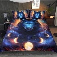 3D Dream Catcher Bedding Set Queen Moon Eclipse Duvet Cover Wolf Bed Set 3pcs Galaxy Bedclothes For Kids Adults